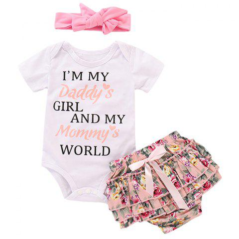 TZY19603 Baby Girl Cute Letter Print Romper + Floral PP Pants + Hair Band Three-piece - PINK 6-12MONTHS