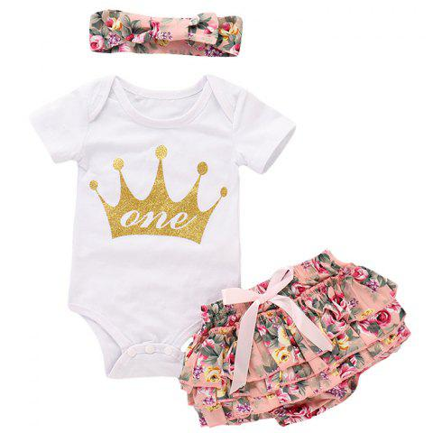 TZY19606 Baby Girl Crown Hot Stamping Short-sleeved Romper + Floral PP Pants + Floral Hair Band Three-piece - PINK 6-12MONTHS