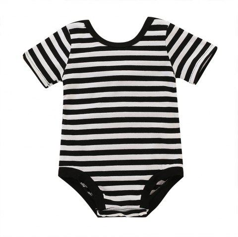 TZY23309 Baby Girl Striped Short-sleeved Triangle Romper - BLACK 0-6MONTHS
