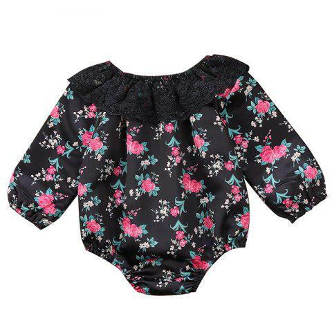 TZY20842 Baby Girl Floral Lace Triangle Lace Romper - BLACK 12-18MONTHS