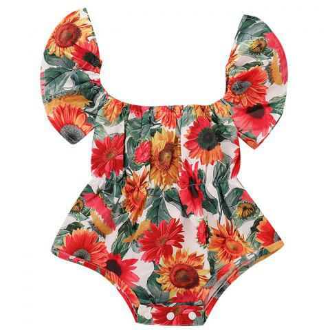 TZY18931 Baby Girl Flower Print Square Collar Small Flying Sleeve Triangle Romper - RED 0-6MONTHS