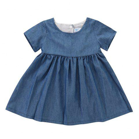 Baby Girl Solid Color Denim Pleated Short-sleeved Dress - SILK BLUE 18-24MONTHS