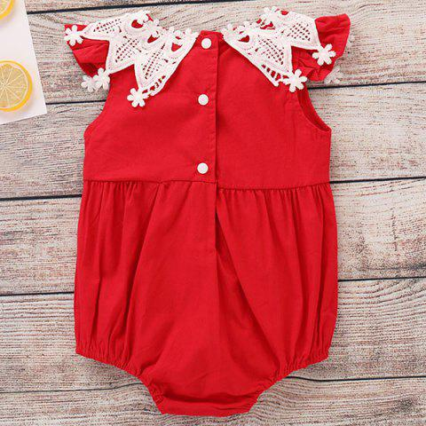 TZY24206 Baby Girl Sweet Lace Bodysuit - RED 18-24MONTHS