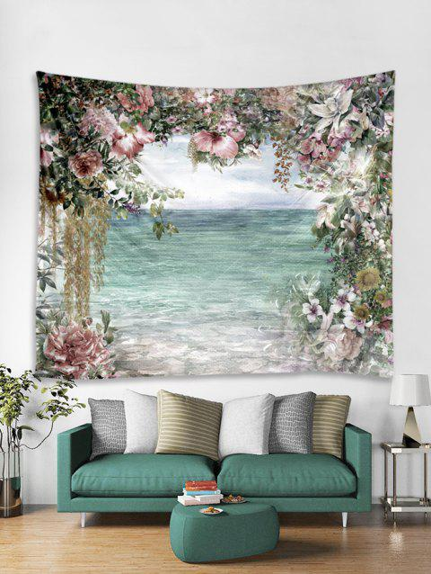 Flower and Sea Print Tapestry Wall Hanging Art Decoration - LIGHT AQUAMARINE W91 X L71 INCH