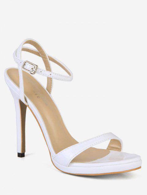 Patent Leather Super High Heel Sandals - WHITE EU 38