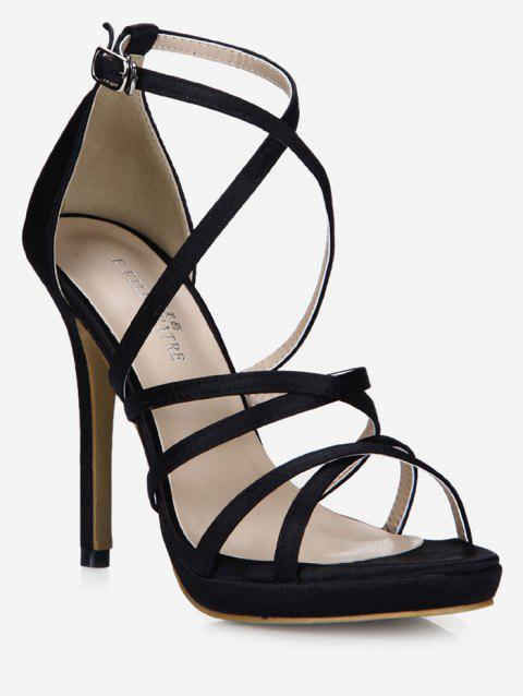 Crisscross Strappy Stiletto Heel Sandals - BLACK EU 38