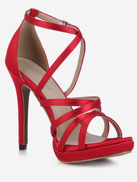 Crisscross Strappy Stiletto Heel Sandals - RED EU 43