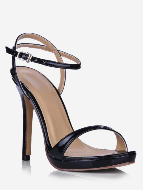 Patent Leather Super High Heel Sandals - BLACK EU 38