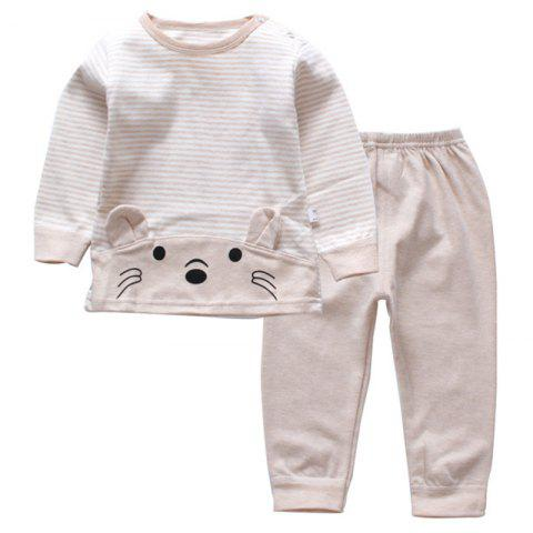 DS - 08 Children's Long-sleeved Trousers Two-piece Casual Cotton - TAN 3 - 4 YEARS