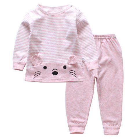 DS - 08 Children's Long-sleeved Trousers Two-piece Casual Cotton - PINK 3 - 4 YEARS