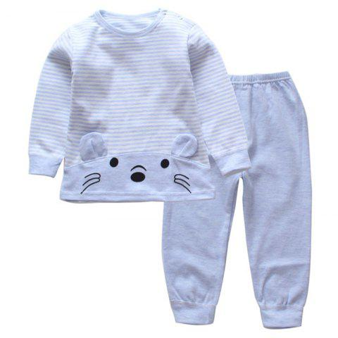 DS - 08 Children's Long-sleeved Trousers Two-piece Casual Cotton - LIGHT SKY BLUE 18 - 24 MONTHS