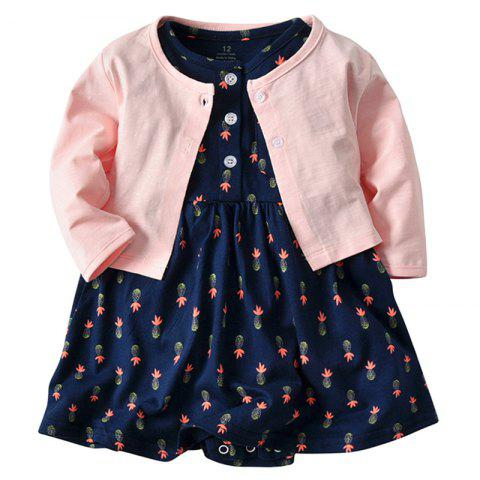 19F011 Baby Cotton Dress Jacket Two-piece - multicolor 3 - 6 MONTHS