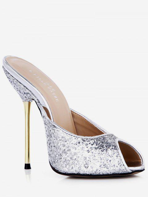 Sequined Peep Toe Stiletto Heel Slippers - SILVER EU 37
