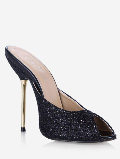 Glitter Peep Toe Stiletto Heel Slippers - BLACK EU 36