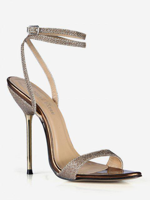 Glitter Ankle Wrap High Heel Sandals - GOLD EU 38