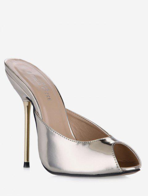 Peep Toe Stiletto Heel Patent Leather Slippers - GOLD EU 37