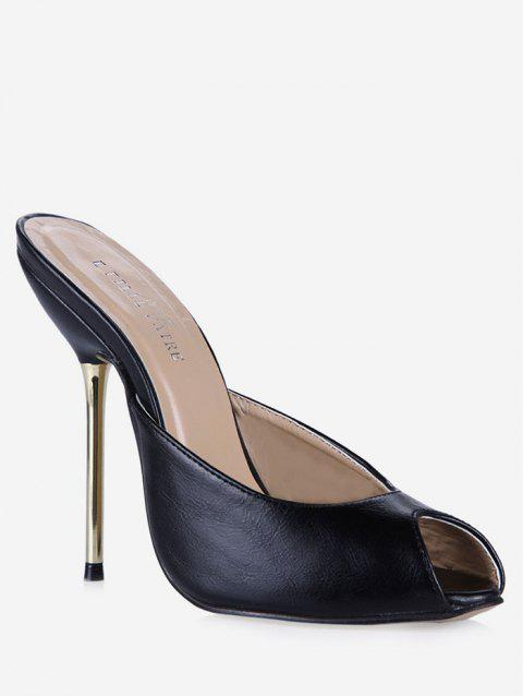 Peep Toe Stiletto Heel PU Slippers - BLACK EU 38