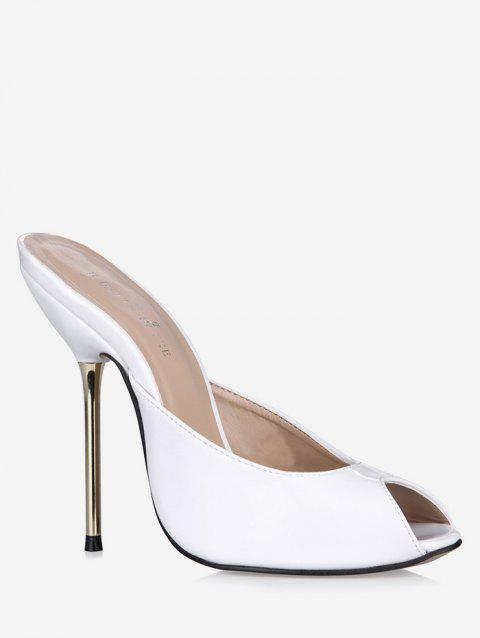 Patent Leather Peep Toe Heeled Slippers - WHITE EU 43