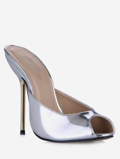 Peep Toe Stiletto Heel Patent Leather Slippers - SILVER EU 41