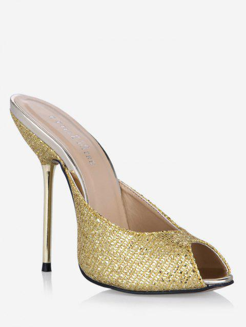 Glitter Peep Toe Stiletto Heel Slippers - GOLD EU 39