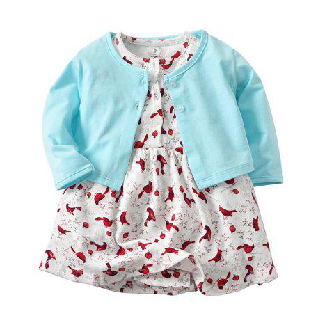 19F036 Girls' Cotton Long Sleeve Jacket Two-Piece - multicolor 9 - 12 MONTHS