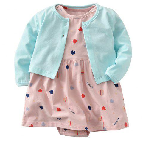 19F007 Baby Cotton Heart-shaped Pattern Dress Two-piece - multicolor 6 - 9 MONTHS