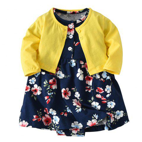 19F001 Baby Girls' Cotton Long-sleeved Jacket Two-piece - multicolor 6 - 9 MONTHS