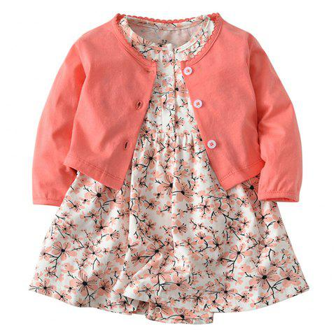 19F002 Baby Girls' Cotton Long-sleeved Jacket Two-piece - multicolor 9 - 12 MONTHS
