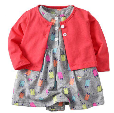 19F035 Baby Girls Cotton Long Sleeve Jacket Two-piece - multicolor 6 - 9 MONTHS