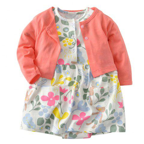 19F008 Baby Cotton Dress Two-piece - multicolor 3 - 6 MONTHS