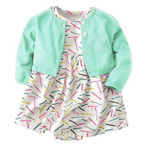 19F004 Baby Girls' Cotton Long-sleeved Coat Two-piece - multicolor 9 - 12 MONTHS