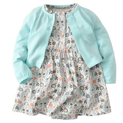 19F005 Baby Girl Cotton Short-sleeved Dress Two-piece - multicolor 9 - 12 MONTHS