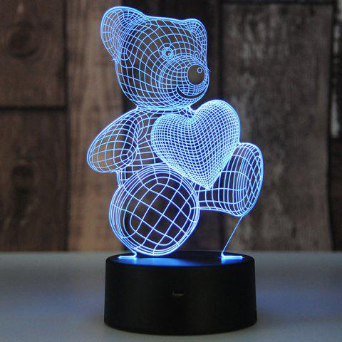 Sweet Love Bear Touch Creative 3D Colorful Night Light LED Table Lamp Gift - multicolor A
