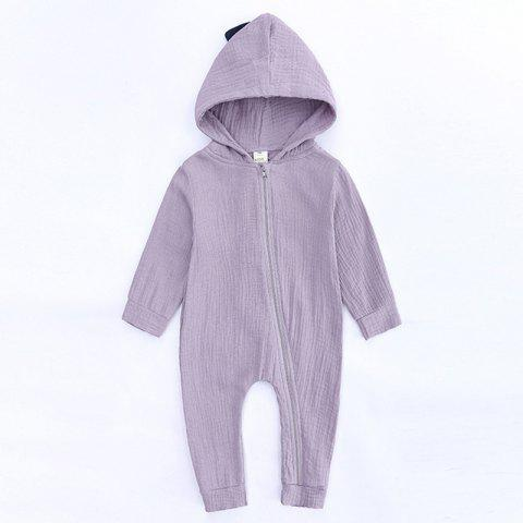 04efc4124 HY2482 Spring And Autumn Baby Onesies Cute Dinosaur Romper - LILAC 12-24M