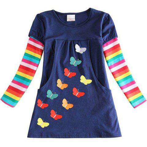 LH5803 Girls' Dress Embroidered Butterfly Cotton Rainbow Long Sleeve - DEEP BLUE 5 - 6 YEARS
