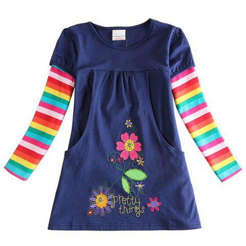 Children's European American Long-sleeved Princess Dress - DEEP BLUE 3 - 4 YEARS