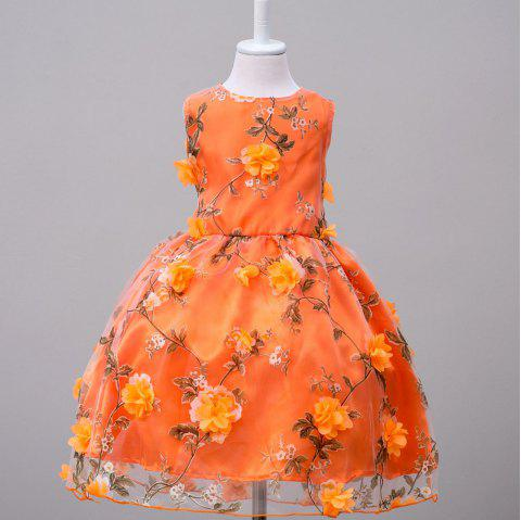 Robe de princesse sans manches en maille à fleurs - Orange 8 - 9 YEARS
