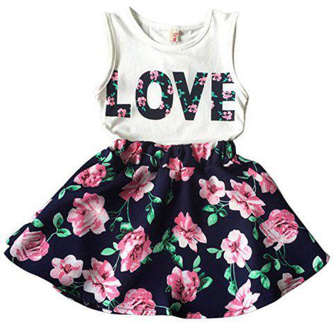 Korean Children's Clothing Girls LOVE Letters Sleeveless Vests Skirt Two-piece - multicolor A 5YEARS
