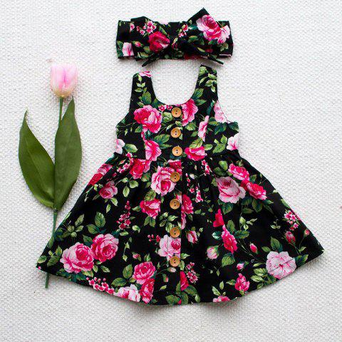 Summer Girl Floral Sling Dress with Bow Tie Hair Band - multicolor 2 YEAR