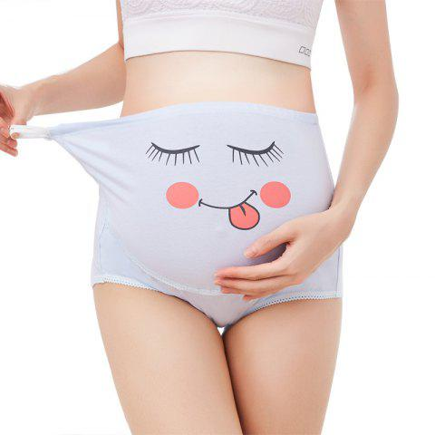 825 Pregnant Women Underwear Cotton Breathable High Waist Lift Adjustable Cute Cartoon Expression Pants - ALICE BLUE XL