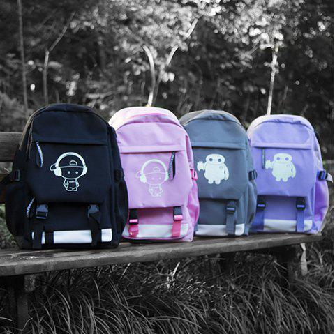 Mode Casual Luminous Student Backpack - Pourpre WHITE ROBOT