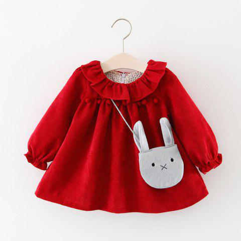 Girls Long Sleeve Princess Dress - LAVA RED 12-24M