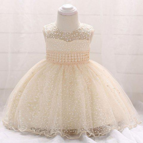Beaded Hollow Baby Dress - CHAMPAGNE 6-12MONTH