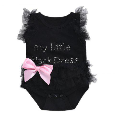 Cute Little Girl English Letter Lace Dress  0 - 6 Months ( 70 ) - BLACK 0-6 MONTHS