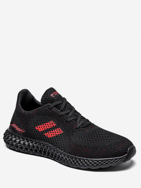Letter Pattern Contrast Athletic Sneakers - BLACK EU 43