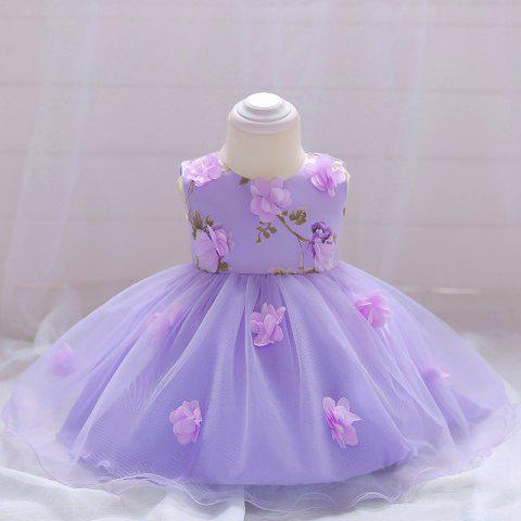 Girls Three-dimensional Flower Butterfly Print Princess Dress - PURPLE MIMOSA 0-6MONTH