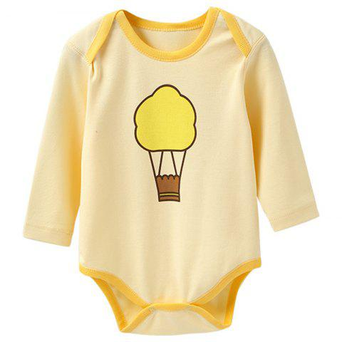 Mint Cotton MC6003 Long Sleeve Baby Rompers - YELLOW 0 - 3 MONTHS