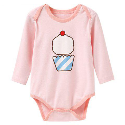 Mint Cotton MC6003 Long Sleeve Baby Rompers - LIGHT PINK 6 - 9 MONTHS