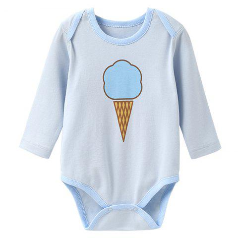 Mint Cotton MC6003 Long Sleeve Baby Rompers - BABY BLUE 3 - 6 MONTHS