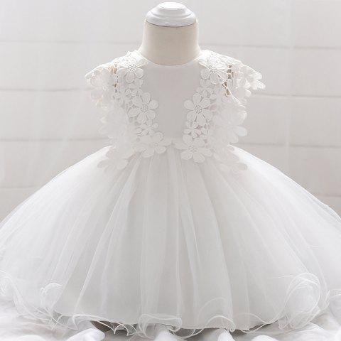 L1838XZ Girls Lace Breathable Wedding Dress - WHITE 12-24MONTH